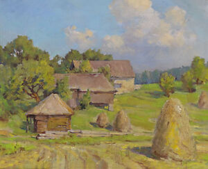 Stunning-art-Oil-painting-impressionism-village-landscape-with-Haystack-canvas