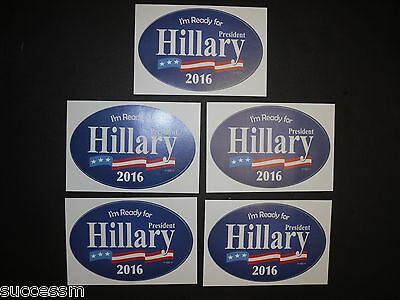 2016 Set of 5 Hillary Clinton Campaign Bumper Stickers - Brand New FREE SHIPPING