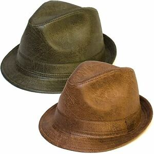 Image is loading Faux-Leather-Trilby-Hat 7691c34a25f
