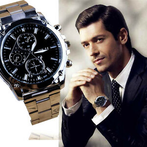 Neu-Luxus-Herren-Quarz-Uhren-Edelstahl-Analog-Mode-Business-Armbanduhren-Watches