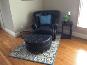 Brilliant Details About Sealy Blue Leather Club Chair And Ottoman Alphanode Cool Chair Designs And Ideas Alphanodeonline