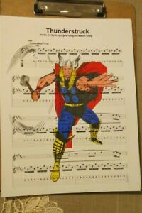 Details about Thor Marvel Avengers signed art print Thunderstruck ACDC  sheet music 8 5X11