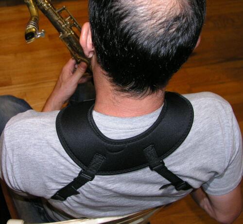 Black Bari Saxophone harness neoprene shoulder pad Tenor Alto super Sax