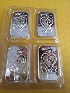 Love silver  Heart 1  oz .999 Fine Silver  bullion