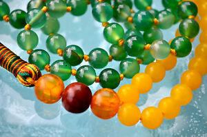 Details about Green Yellow Jade & Rosewood 108 Prayer Beads Hand Knotted  Mala Beads Necklace