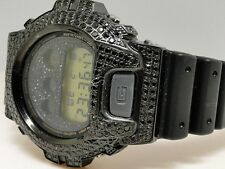 New Mens Casio G-Shock 6900 Black Iced Out Simulated Diamond Watch 5.5 Ct