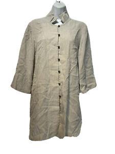 Fridaze Lagenlook Long Sleeve Button Jacket Top 100% Linen Beige Size S