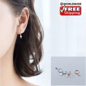 1Pair-Men-Women-925-Sterling-Silver-Cross-Hoop-Dangle-Huggie-Drop-Earrings
