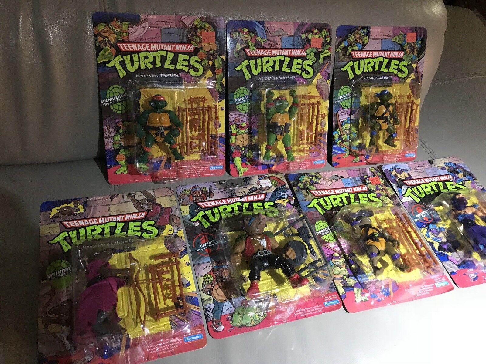 mejor oferta Lote de (7) Original Teenage Mutant Ninja Turtles Turtles Turtles Tortugas Ninja 1044 Lote Figura de Acción autoridad trituradora Bebop menta en tarjeta  tienda