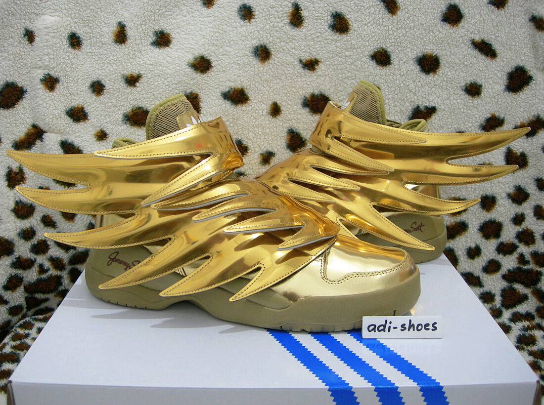 ADIDAS JEREMY SCOTT JS WINGS 3.0 gold UK 4-7 floral B35651 rainbow flag 2.0 y3