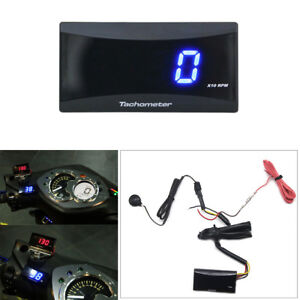 Details about Universal Square LCD Motorcycle Tachometer Blue Digital  Display RPM Meter Gauge