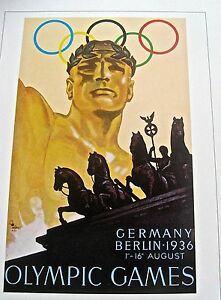 Olympic-Games-1936-BERLIN-GERMANY-Official-Poster-Reprint-16x12-Offset-Litho