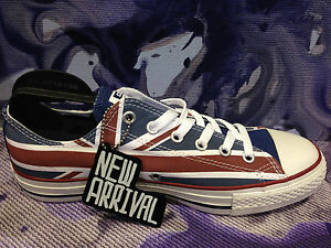 52a0e76d422e NEW CONVERSE ALL STAR CHUCK TAYLOR RED WHITE BLUE UK FLAG LOW MEN ...
