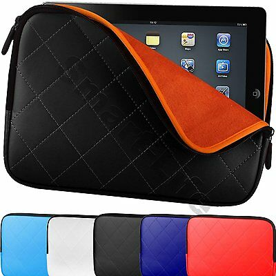 "Tablet Case Netbooks Cover Padded Pouch Sleeve Up To 10.2"" Quilted Zip Carry Bag"