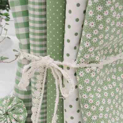 5 PIECES CHECK DOT FLOWER NATURAL GREEN COLOR QUILT CRAFTS FABRIC 100% COTTON