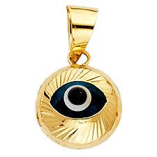 14K Yellow Gold Evil Eye Fluted Pendant Charm