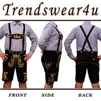 German Bavarian Oktoberfest Trachten Mens Short Length Lederhosen Black Outfit