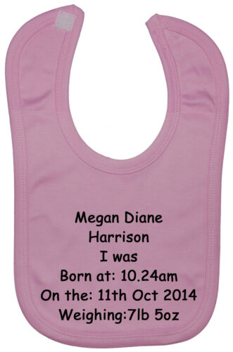 Personalised Name,Time,Date,Weight Baby Feeding Bib Newborn-3yr Touch Fastener