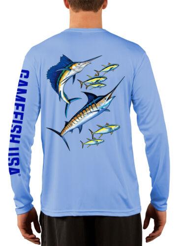Men/'s Ultraviolet facteur de protection 50 à Manches Longues en microfibre Performance Fishing shirt Marlin et Thon