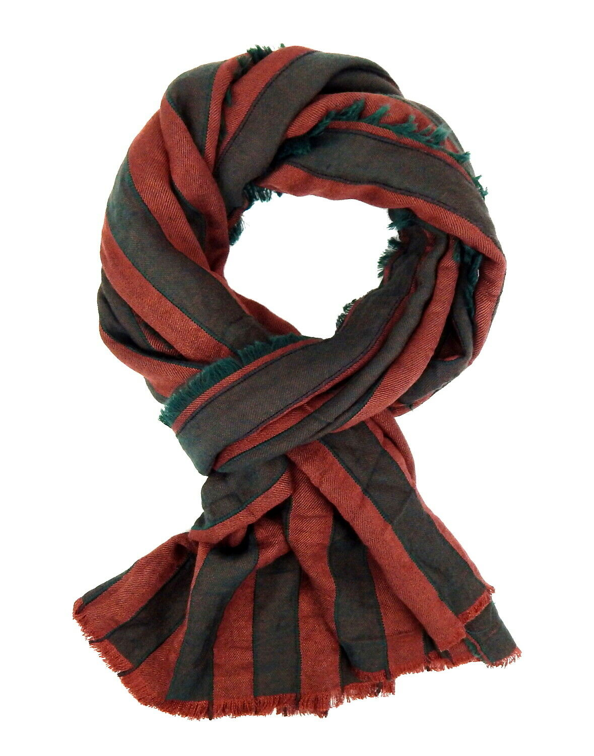 Men/'s Scarf Brown Grey Stripes by Ella Jonte Scarf Cotton Viscose Striped