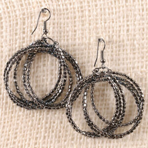 Circular-Maze-Dressy-Dark-Grey-Gunmetal-Beaded-Metallic-Drop-Wire-Earring