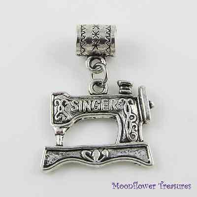 Tibetan Silver Singer Sewing Machine Charm fit European Charm Bracelet
