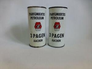 2-alte-Blechdosen-3-Pagen-parfuemiertes-Petroleum-fuer-Museum-oder-Sammler