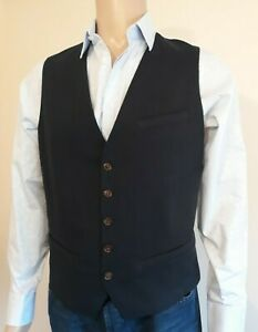 "Herrenmode Anzüge Ted Baker ""stawai"" Navy Cotton Tailored Waistcoat Bnwt Uk 40 Ted 4 Rrp £110.00"