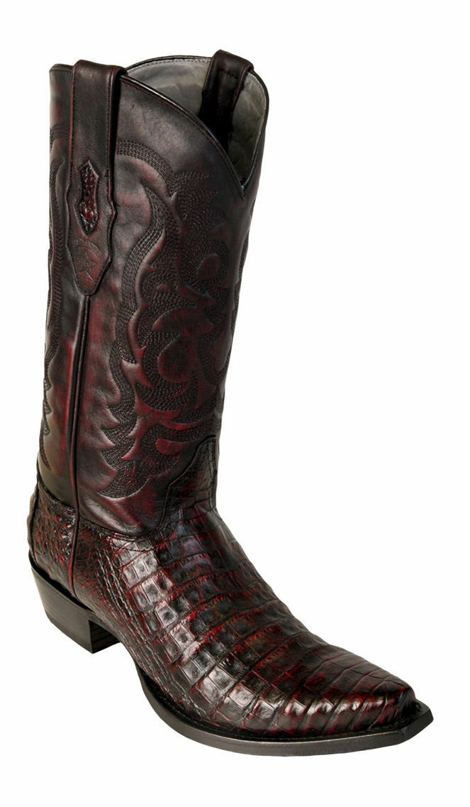 Los Altos Genuine CHERRY Caiman CROCODILE Belly Snip Toe Western Cowboy Boot EE