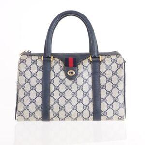 12bbfb3bb613 Image is loading Vintage-Gucci-Mini-Speedy-Monogram-Blue-Red-Hand-
