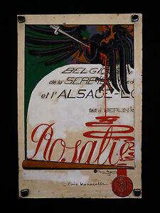 """Pierre LEGRAIN (1889-1929) Gouache originale 06/1916 projet pour""""La Baïonnette"""" - France - Pierre LEGRAIN (1889-1929) Gouache originale, projet de quatrime de couverture pour """"La Baïonnette"""", numéro 52 du 29 Juin 1916 """"Rosalie"""", signé et daté """"Pierre Legrain 16"""" en bas droite, timbre sec au revers. Dimensions : 45,3 cm x 30,1 cm Pi - France"""