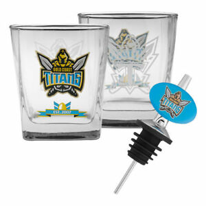 NRL-Drink-Glass-Set-With-Pourer-Gold-Coast-Titans-Gift-Boxed-BNWT