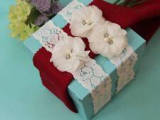 Item 6 Ivory White Wedding Garter Set Keepsake Toss Bridal Prom Rustic ShabbyS1