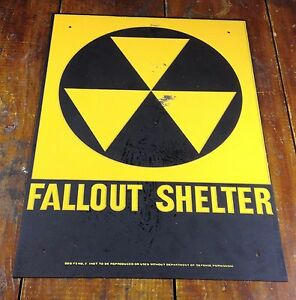 Cold-War-Era-50s-60s-USA-Fallout-Shelter-Dept-of-Defense-Yellow-Black-Metal-Sign
