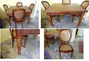 Occasione tavolo in noce stile inglese con sedie in paglia di