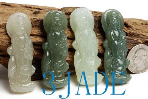 Guanyin Pendants //Carving 4pcs Natural Hetian Nephrite Jade Kwan-yin