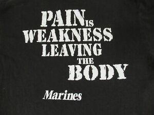 Marines-Pain-Is-Debolezza-Lasciando-il-Corpo-Medio-Nero-T-Shirt-D286