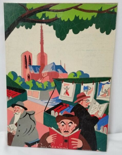 DináMica 1940's Kermorver Arte Pintado Gouache Papel / París 8.5cm X 6.25cm Zeller Altamente Pulido