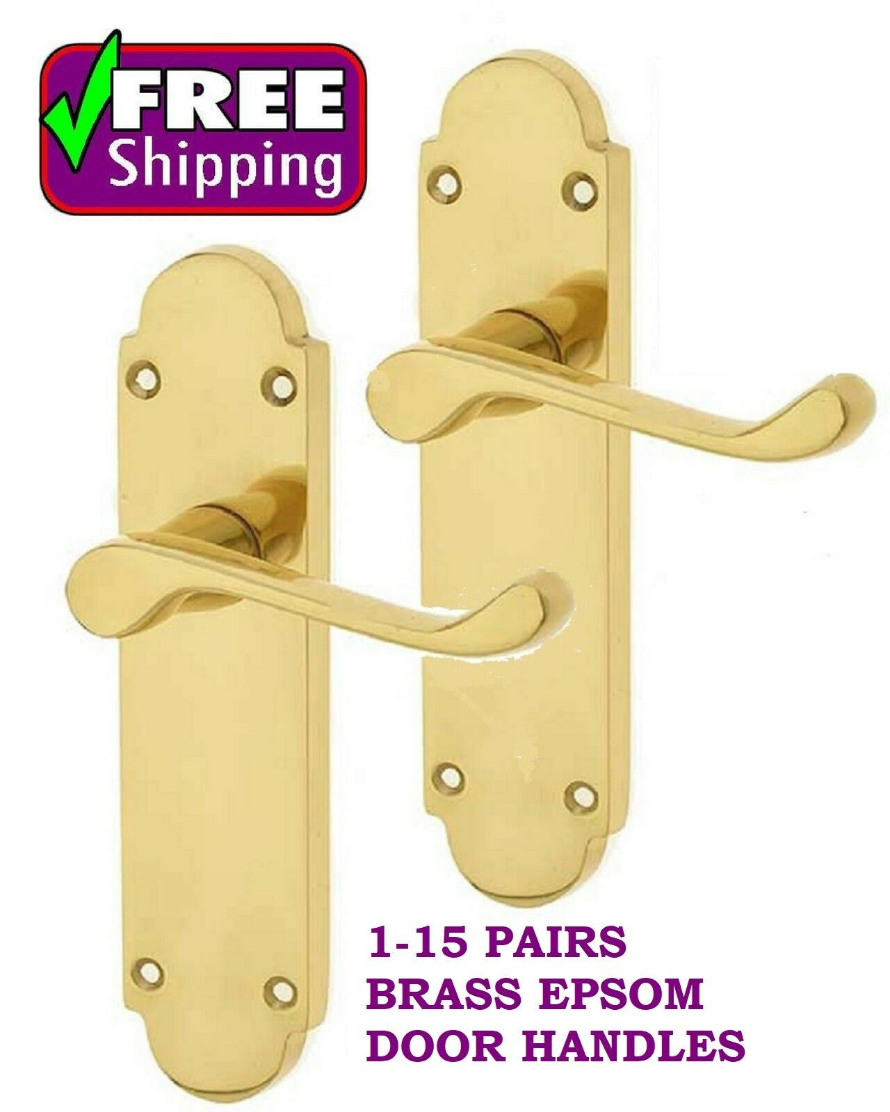 1-15 Pairs EPSOM Brass Interior Latch Door Handles 168 x 42mm FREE DELIVERY