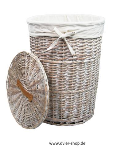 Wäschekorb Wäschetruhe weide wasch weiß rund 3x Varianten