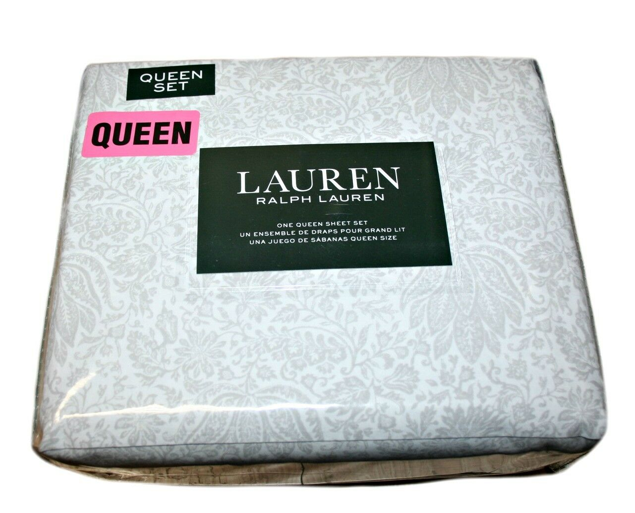Ralph Lauren 100% Cotton Queen Sheet Set, Floral, color  White and Grey