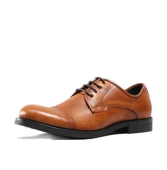 38-44 Herren Retro Cowboy Business-Schuhe Echtleder Schnürung Low Top Abend Neu