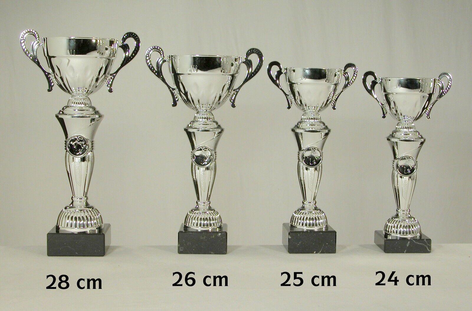 4 Pokale silberfarben 28 -26 - - - 25 - 24 cm eischl. Text u. Emblem zum SONDERPREIS 0f12ff