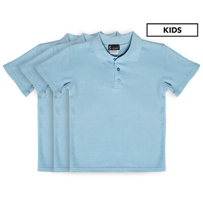 S. Cool Kids' School Polo 3-Pack - Sky Blue