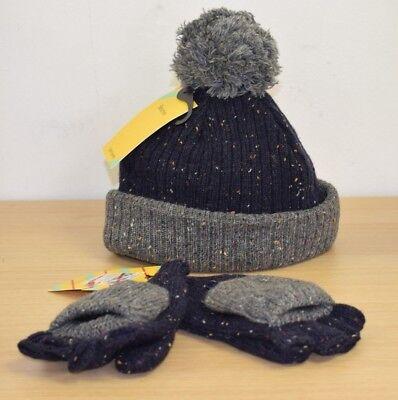 John Lewis Flecked Tricoté Enfants Chaud Gants Mitaines Bobble Hat en Bleu Marine Gris