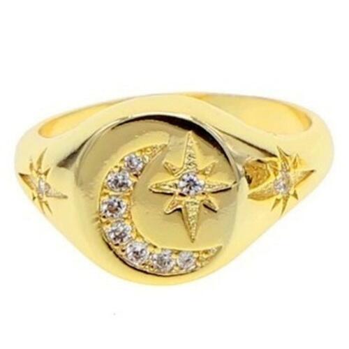 """DJADEE /""""Shiningstar/"""" Ring 18K 750 Gold vergoldet Zirkonia gelbgold Damen R5520D"""