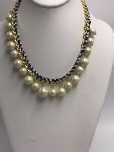 83d0f6ca814a5 Details about $128 Kate Spade Pretty Pearly Crew Wow Factor Gingham Ribbon  Woven Necklace