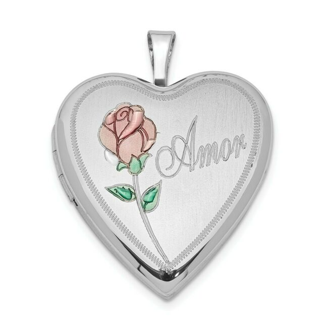 .925 Sterling Silver Gold Plated I Love You Enameled Heart Locket Charm Pendant