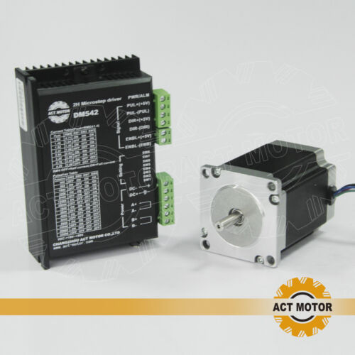 1pc nema 23 stepper 23hs8430 3a 270oz-in 76mm φ6.35mm+1pc dm542 Driver Act motor