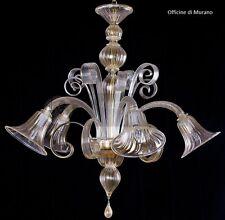 Lampadario di Murano 1007/5 Cristallo Oro - Montatura Oro 24k Officine di Murano